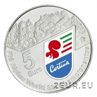 ITALY 2021 5 € - ALPINE WORLD SKI CHAMPIONSHIPS - COIN CARD