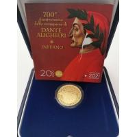 ITALY 20 EURO 2021 - 700th Anniversary of the Death of Dante Alighieri - Gold