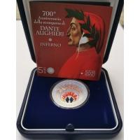 ITALY 5 EURO 2021 - 700th Anniversary of the Death of Dante Alighieri - silver