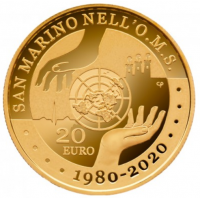 SAN MARINO 20 EURO - 40 YEARS SINCE THE ACCESSION OF SAN MARINO TO THE OMS