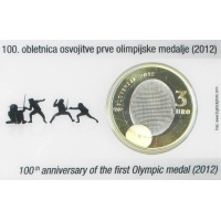 SLOVENIA 3 EURO 2012 - 100H ANNIVERSARY OF THE FIRST OLYMPIC MEDAL COIN CARD