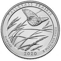 USA Quarter Dollar (25 Cents) 2020 -P - National Park - Tallgrass Prairie
