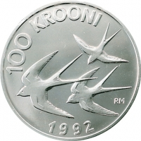 ESTONIA 1992 - 100 KROON - MONETARY REFORM