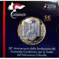 ITALY 2019 5 €  - CARABINIERI COMMAND FOR CULTURAL HERITAGE- PROOF