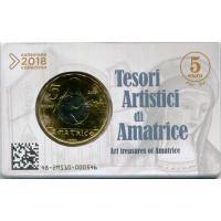 ITALY 2018  5 € BU - ART TREASURES OF AMATRICE -COIN CARD