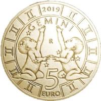 SAN MARINO 5 EURO 2019 - ZODIAC - GEMINI