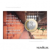 SLOVENIA 3 EURO 2010 - LJUBLJANA: WORLD BOOK CAPITAL COIN CARD