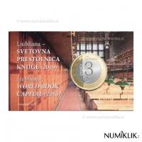 SLOVENIA 3 EURO 2010 - LJUBLJANA: WORLD BOOK CAPITAL COIN CARD