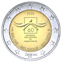 BELGIUM 2 EURO 2008 - 60TH ANNIVERSARY OF THE UNIVERSAL DECLARATION OF HUMAN RIGHTS