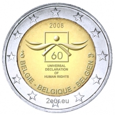 BELGIUM 2 EURO 2008 - 60TH ANNIVERSARY OF THE UNIVERSAL DECLARATION OF HUMAN RIGHTS