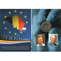 BELGIUM 2 EURO 2005 - BELGIUM LUXEMBOURG ECONOMIC UNION - COIN CARD