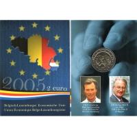 BELGIUM 2 EURO 2005 - BELGIUM LUXEMBOURG ECONOMIC UNION - COIN CARD