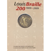 BELGIUM 2 EURO 2009 - LOUIS BRAILLE - COIN CARD