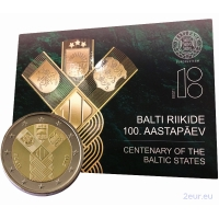 ESTONIA 2 EURO 2018 - 100TH ANNIVERSARY OF THE INDEPENDENCE OF THE BALTIC STATES -C/C