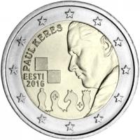 ESTONIA 2 EURO 2016 - 100 YEARS SINCE THE BIRTH OF PAUL KERES