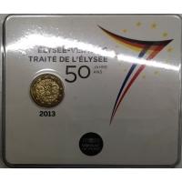 FRANCE 2 EURO 2013 - 50 YEARS OF THE ÉLYSÉE TREATY - COIN CARD