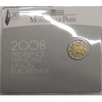 FRANCE 2 EURO 2008 - PRESIDENCE EU - COIN CARD