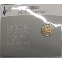 FRANCE 2 EURO 2008 - PRESIDENCE EU - COIN CARD