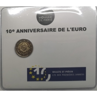 FRANCE 2 EURO 2012- 10 YEARS OF EURO - COIN CARD