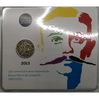 FRANCE 2 EURO 2013 - PIERRE DE COUBERTIN - COIN CARD