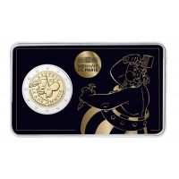 FRANCE 2 EURO 2019 -60 YEARS ASTERIX. OBELIX GIVES HOMAGE TO HIS FRIEND ASTERIX BY CUTTING OUT A MEMORY COIN!