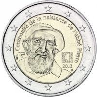 FRANCE 2 EURO 2012 - 100TH ANNIVERSARY OF THE BIRTH OF ABBE PIERRE