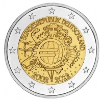 GERMANY 2 EURO 2012 - 10 YEARS OF EURO - F - STUTTGART