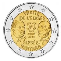 GERMANY 2 EURO 2013 - 50 YEARS OF THE ELYSEE TREATY  - J - HAMBURG