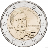 GERMANY 2 EURO 2018 - 100TH ANNIVERSARY OF THE BIRTH OF GERMAN FEDERAL CHANCELLOR HELMUT SCHMIDT - D - MUNICH