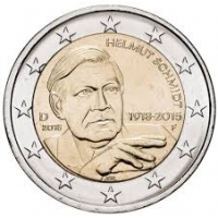 GERMANY 2 EURO 2018 - 100TH ANNIVERSARY OF THE BIRTH OF GERMAN FEDERAL CHANCELLOR HELMUT SCHMIDT - F - STUTTGART