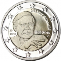 GERMANY 2 EURO 2018 - 100TH ANNIVERSARY OF THE BIRTH OF GERMAN FEDERAL CHANCELLOR HELMUT SCHMIDT - J - HAMBURG
