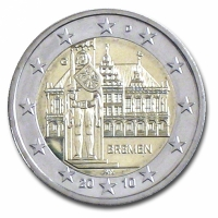 GERMANY 2 EURO 2010 - CITY HALL AND ROLAND - G - KARLSRUHE