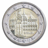 GERMANY 2 EURO 2010 - CITY HALL AND ROLAND - F - STUTTGART