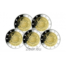 GERMANY 2 EURO 2012 - 10 YEARS OF EURO (A D F G J)
