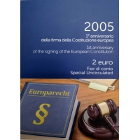 ITALY 2 EURO 2005 - EUROPEAN CONSTITUTION - COIN CARD