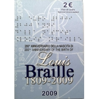 ITALY 2 EURO 2009 - LOUIS BRAILLE C/C