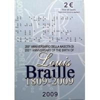 ITALY 2 EURO 2009 - LOUIS BRAILLE C/C