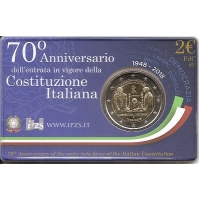 ITALY 2 EURO 2018 - 70TH ANNIVERSARY OF THE CONSTITUTION OF THE ITALIAN REPUBLIC -COIN CARD