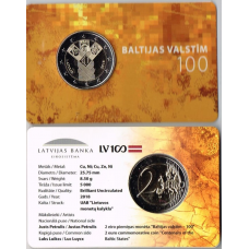 LATVIA 2 EURO 2018 - 100TH ANNIVERSARY OF THE INDEPENDENCE OF THE BALTIC STATES (C0IN CARD)