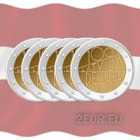 LATVIA 2 EURO 2021 - Latvia de iure 100 (5pcs)
