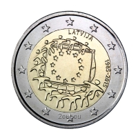 LATVIA 2 EURO 2015 - 30 YEARS OF THE EU FLAG