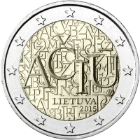 LITHUANIA 2 EURO 2015 - ACIU: LITHUANIAN LANGUAGE