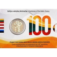 LITHUANIA 2 EURO 2018 - 100TH ANNIVERSARY OF THE INDEPENDENCE OF THE BALTIC STATES (COIN CARD)