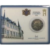 LUXEMBOURG 2 EURO 2006 - 25TH BIRTHDAY OF HEREDITARY GRAND DUKE - COIN CARD