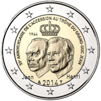 LUXEMBOURG 2 EURO 2014 - GRAND DUKE JEAN'S ACCESSION TO THE THRONE