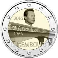 """LUXEMBOURG 2 EURO 2016 - 50TH ANNIVERSARY OF THE BRIDGE """"GRAND DUCHESS CHARLOTTE"""""""
