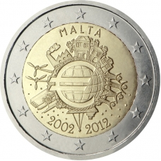 MALTA 2 EURO 2012 - 10 YEARS OF EURO