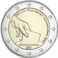 MALTA 2 EURO 2011 - FIRST ELECTION OF REPRESENTATIVES IN 1849