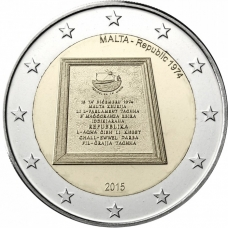 MALTA 2 EURO 2015 - REPUBLIC OF MALTA 1974