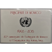 MONACO 2 EURO 2013 - 20TH ANNIVERSARY OF UN MEMBERSHIP - C/C
